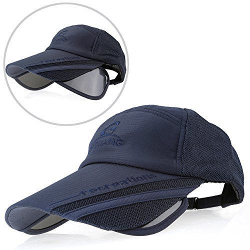 Ayliss Men Women Curved Visor Hats Sunscreen Scalable Brim UV Proof Baseball Cap (Navy (Long Bill Cap)