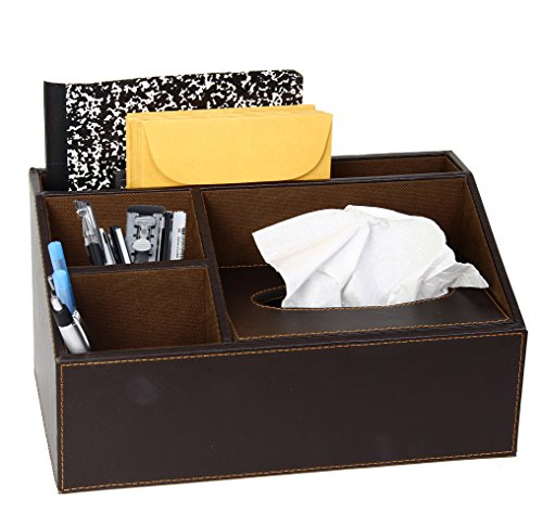Brown Leather Design Supplies Organizer With Built In Tissue Box. 4 Compartment Desktop Organizer by Mega Stationers