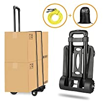 Carretilla plegable Wilbest, Carritos porta equipajes con 4 ruedas Carga máxima 70 kg/165 lbs - Después de plegar se puede poner en la mochila - Ruedas delanteras con rotación de 360 °- Negro