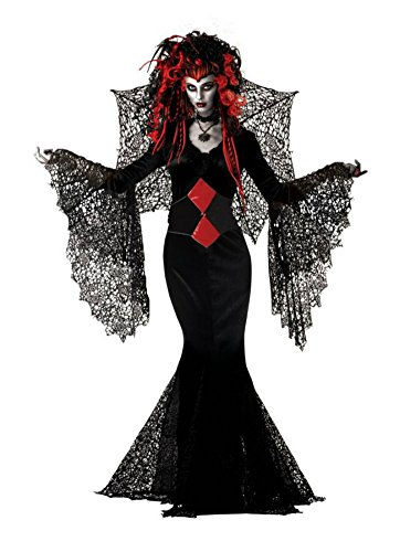 Mario Chiodo Womens Nightmare Black Widow Vampire Fancy Halloween Costume, Medium (8-10)