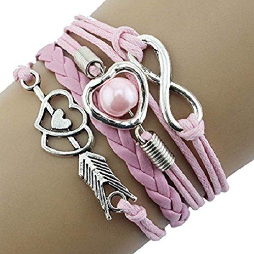 Doinshop Infinity Love Heart Pearl Friendship Antique Leather Charm Bracelet (pink) (Pearl Womens Charm)