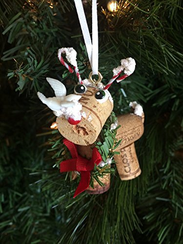 Wine Cork Candy Cane Reindeer Christmas Ornament Craft decoration ()