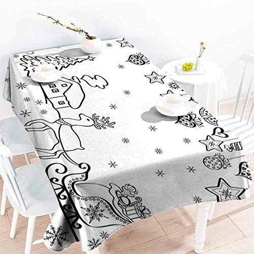 Onefzc Water Resistant Table Cloth,Christmas Tree Ornaments with Santa Sleigh Rudolph Reindeer Toys Jingle Bells Image,High-end Durable Creative Home,W54x72L Black and White