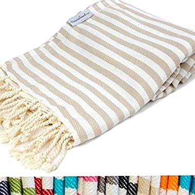 Beige Striped Turkish Towel 100% Cotton for Beach Bath Swimming Pool Yoga Pilates Picnic Blanket Scarf Wrap Hammam Fouta Turkish Bath Towels Beach Towel Peshtemal