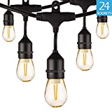 BWL Outdoor String Lights, Linkable 48ft Patio Lights with 24 S14 Plastic Hanging Bulbs + 2 Spares Bulb, Weatherproof Vintage Edison String Lights Great for Outdoors, Café, Yard, Wedding (Warm White)