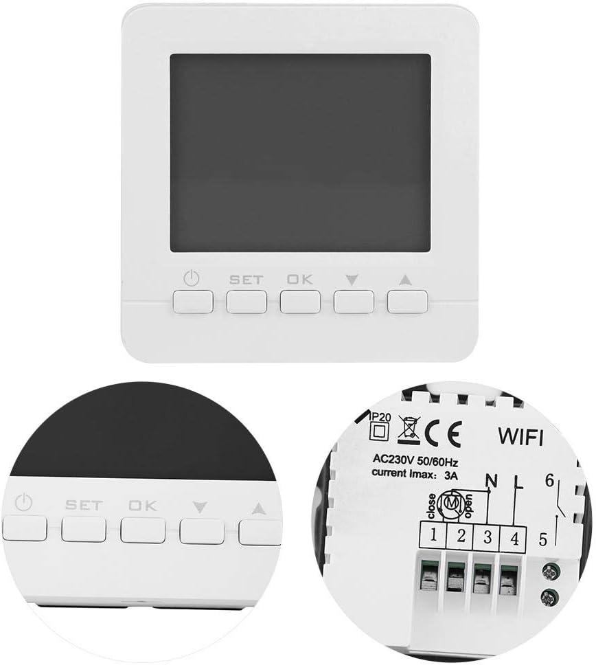 Jacksking Thermostat num/érique HY02B05-2 AC200-240V WiFi Affichage LCD Affichage Chauffage 6 Contr/ôleur de temp/érature programmable P/ériode Thermostats centraux