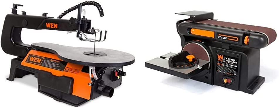 WEN 3921 16-inch Two-Direction Variable Speed Scroll Saw & 6502T 4.3-Amp 4 x 36 in. Belt and 6 in. Disc Sander with Cast Iron Base - -