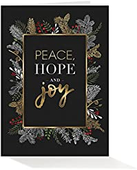 Amazon wall street greetings holiday pack of 25 wall street greetings black and gold garland 5x7 foldover holiday cards with 25 m4hsunfo