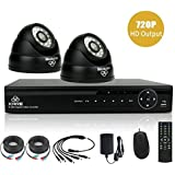 [Upgraded 720P HD Output] KARE® 4 Channel HD H.264 Real-time DVR Digital Video Recorder CCTV Surveillance System with 2 Indoor/Outdoor Dome Security CCTV Cameras (720p Mega Pixels Better Than 1280TVL, HDMI/VGA Output, 24-LEDs Day/Night Vision, Easy Mobile Access & Push Notifications, Waterproof & Vandal-Proof Housing, Black)