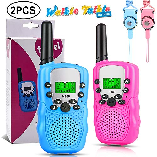Jansamn Pink Blue Kids Walkie Talkies Cover 3 Miles Long Range with Backlit LCD Screen Walky Talky 22 Channels 2 Way Radio Walkie-Talkies for 3-12 Year Old Boys Girls Outdoor Adventures, Camping