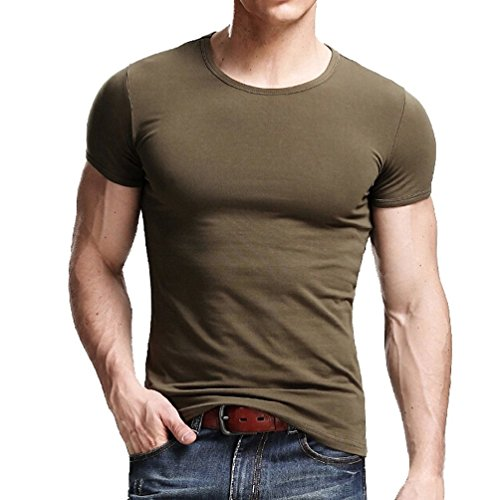 Xudian Short Sleeves Men T-shirt Crew-neck, US Size: Medium, Asian Size: X-Large (Army Green)