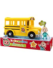 Cocomelon Musical Yellow School Bus, Plays Clip from 'Wheels on The Bus,' Featuring Removable JJ Figure – Character Toys for Babies, Toddlers, and Kids,Multi,CMW0015
