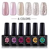 Coscelia 6 Pcs 0.34fl.oz Soak off UV LED Gel Nail Polish Set Light Pink Glitter White Nail Art Varnish Starter Kit