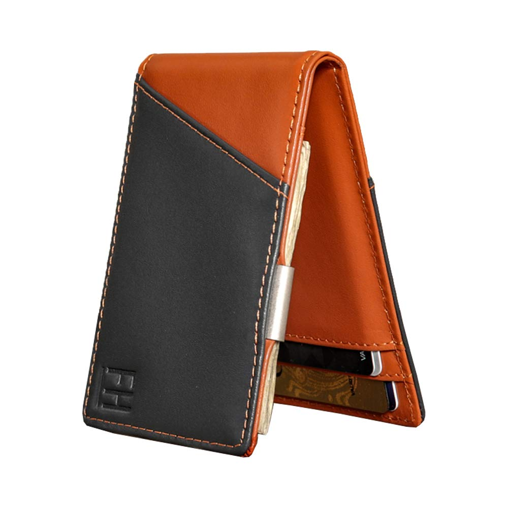 F&H Signature Slim RFID Money Clip Wallet in Top Grain Leather (Charcoal/Rust) by Forrest & Harold