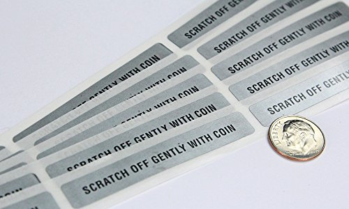 My Scratch Offs 0.375 x 2.5 Inch Silver Rectangle with Text Scratch Off Sticker Labels - 250 Pack