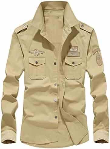 7ef3d76df72 AliveGOT Men s Long Sleeve Button Military Style Shirt Cargo Tactical Work  Shirt