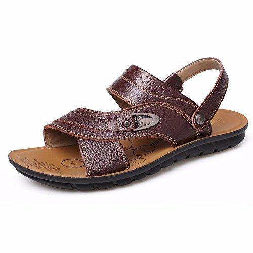 Uomini sandali Uomini estate vera pelle Spiaggia scarpa Tempo libero scarpa Il nuovo pelle Spessore inferiore Antiscivolo sandali Uomini scarpa ,Marrone ,US=7.5,UK=7,EU=40 2/3,CN=41