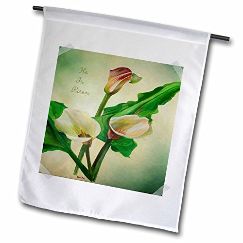 3dRose He is Risen - Calla, Callas, Easter Lily, Flower, Lilac, Lilies - Garden Flag, 12 by 18
