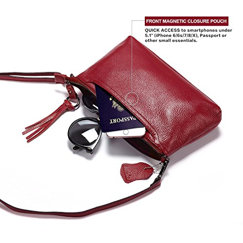 Phone Crossbody Womens Leather Clutch Slots 3 Card Bag Purse Red Small Lecxci Women Wallet for Burgundy Zipper with H0x4Cww