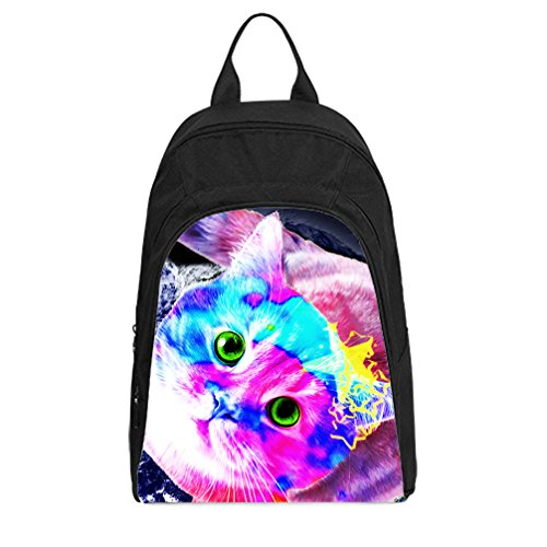 JIUDUIDODO Custom Funny Cat & Galaxy Space Oxford Fabirc School Bags Backpacks Outdoor Bags Shoulder Bags