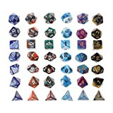 Cicitop 42Pcs Acrylic Polyhedral Game Dices With a Cloth Bag, Lightweight and Portable, Perfect for TRPG Board Game, Dungeons And Dragons, Club and Bar Drinking Playing Game Tool, Math Teaching.