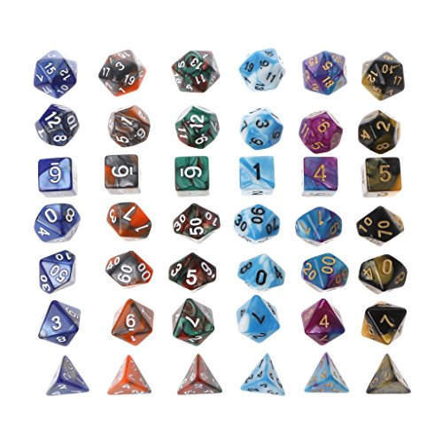 Cicitop 42Pcs Acrylic Polyhedral Game Dices With a Cloth Bag, Lightweight and Portable, Perfect for TRPG Board Game, Dungeons And Dragons, Club and Bar Drinking Playing Game Tool, Math Teaching. by Cicitop