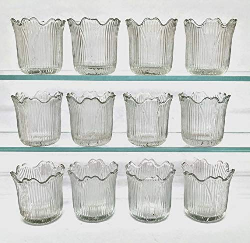 "Home Decoration Accessories Clear Glass Votive Candle Holder Tea Light Tulip Shape 2.25"" High Set of 12"
