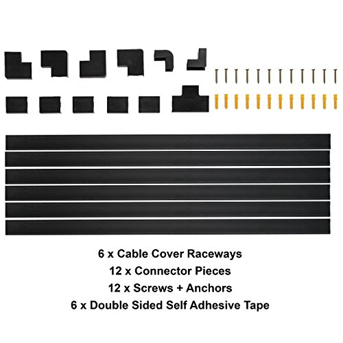 black cable concealer on wall cord cover raceway kit cable import it all. Black Bedroom Furniture Sets. Home Design Ideas