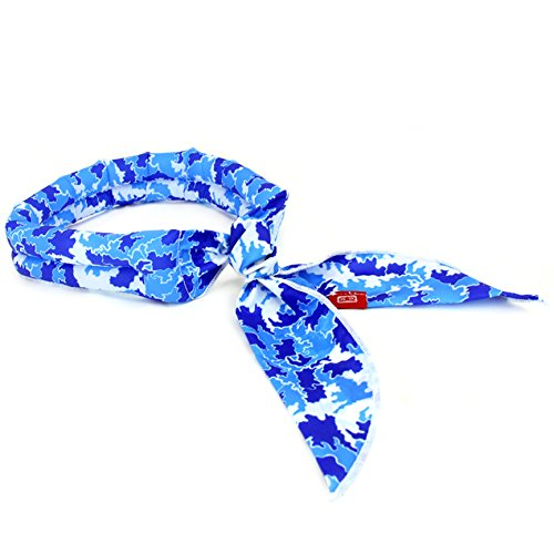 N-rit Cooling Scarf. Wrap a Soaked Tie Around Neck Head to Instantly Chill Out. Crystal Polymer Technology Keeps Cool & Reusable. Great Summer, Outdoor Activities & Sports. [Blue Camo]