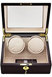 CHIYODA Automatic Handmade Double Watch Winder with Quiet Mabuchi Motors, LCD Digital Screen