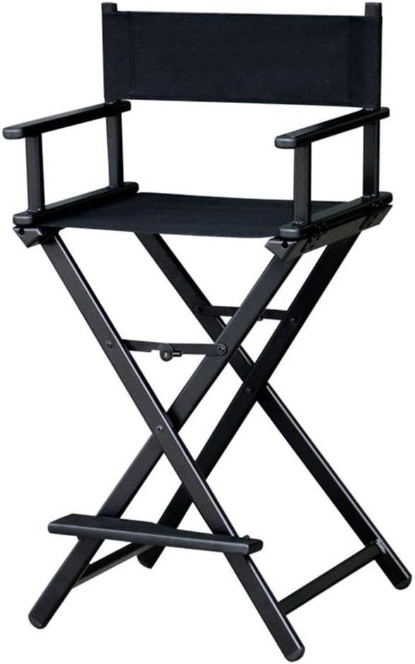 MathRose Director Chair Black Folding Telescope Makeup Telescopic Artist Director Chair Lightweight Portable Makeup Chair with Side Bags,Max Load:115kg// 250 lbs