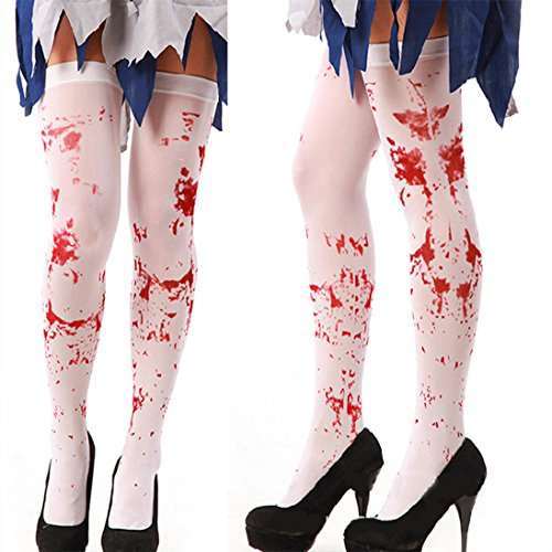 Third Goddess Bloody Silk Stockings Thigh High Over the Knee for Halloween Accessories]()