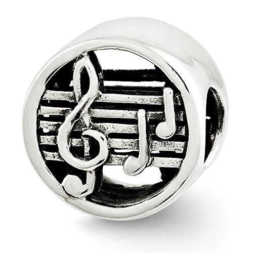 (Music Notes and Staff Cylinder Charm in Antiqued Sterling Silver)