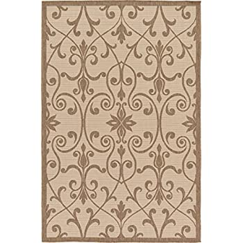 Amazon Com Outdoor Collection Area Rug Beige 5 3 Quot X 8