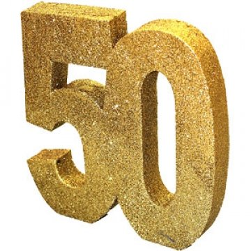 8' Gold Glitter 50th Birthday Table Decoration ()