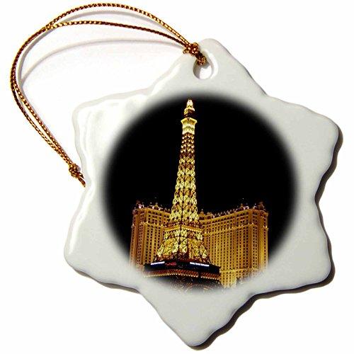 Paris Las Vegas Hotel Casino - 3dRose Paris Hotel Casino in Las Vegas NV - Snowflake Ornament, Porcelain, 3-Inch (ORN_156498_1)