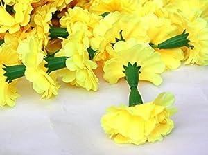 Nexxa Set of 5 Yellow Marigold Garlands 5 Feet Long Strands, Flower Garland, Indian Wedding Flowers, Diwali Marigold, Party Decor, Wedding, Deepavali