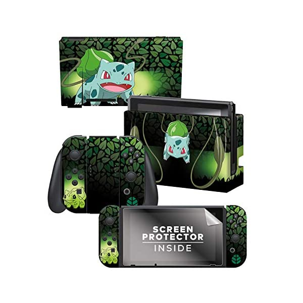 "Controller Gear Officially Licensed Nintendo Pokémon Switch Skin & Screen Protector ""Bulbasaur Elemental Set 1"" 1"