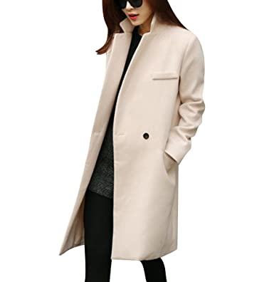 best service 8b96a cd0ce Damen Lange Mantel Trenchcoat Übergangsjacke Faux Wollmantel Parka Coat  Outwear