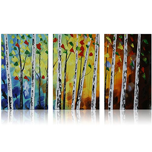 IARTS Wall Art Contemporary Acrylic Oil Paintings 100% Hand Painted, Tree of Life Modern Artwork Wall Art for Home Decorations Set of 3, 24 X 48 (Hand Painted Artwork Set)