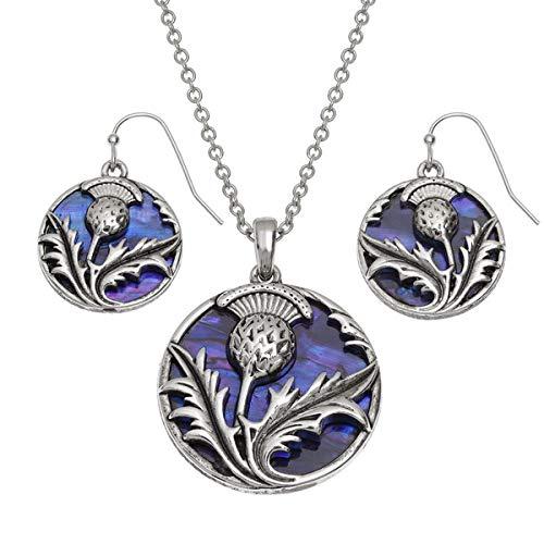 Jewellery Scottish Thistle (Talbot Fashions Tide Jewellery Inlaid Purple Paua Shell Scottish Thistle Necklace & Dangly Earring Set)