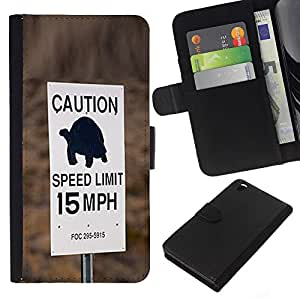 KLONGSHOP // Tirón de la caja Cartera de cuero con ranuras para tarjetas - Tortuga velocidad lenta Conductor Límite de coches - HTC DESIRE 816 //