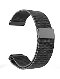 Replacement Metal Milanese LOOP Bands for Pebble Time Steel Smartwatch (Black)