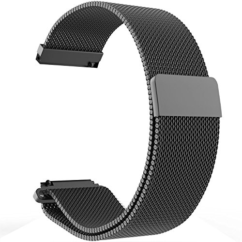 Replacement Metal Bands Watch Straps - Choice of Color & Width (22mm) - Premium Strong Milanese Loop Watch Bands, (Magnetic)-Black