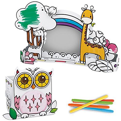 CubicFun P695h DIY Coloring 3d Puzzle Owl Pen Holder & Giraffe Photo Frame Design, 24 Pieces (5 Color Pens (Halloween Photo Frames Craft)