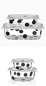 Kate Spade New York Deco Dot Rectangular Dish with Lid with Deco Dot round dishes
