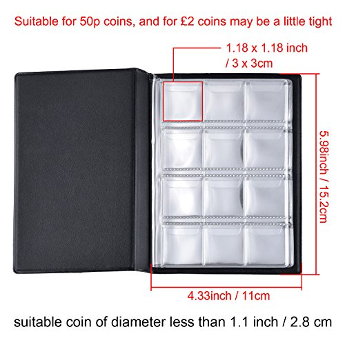 Hotop 120 Pockets Coin Holder Collection Coin Storage Album Book for Collectors, Money Penny Pocket (Blue) Photo #5