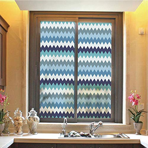 Aqua 3D No Glue Static Decorative Privacy Window Films, Retro Vintage Chevron Geometrical Zig Zag Stripes Decorative,17.7