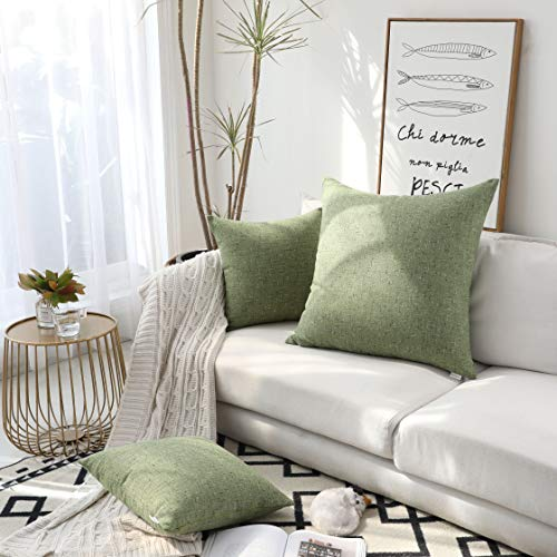 Kevin Textile Color Mixing Faux Linen Square Throw Pillow Case Sham Cushion Covers for Car/Couch Use, 26-inch (2 Packs, Avocado Green) - Green Euro Sham