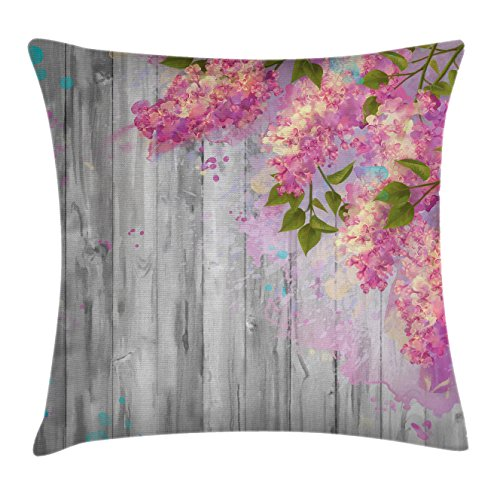 Flower Throw Pillow Cushion Cover by Ambesonne, Floral Decor Watercolor Style Effect Branches of Lilac on Wooden Background Print, Decorative Square Accent Pillow Case, 18 X18 Inches, Grey and Pink